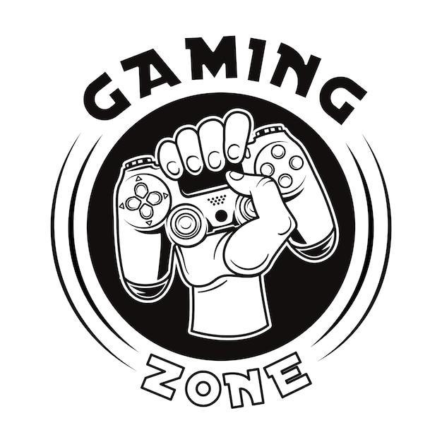 Weinleseabzeichen der hand, die joystickvektorillustration hält. rundes etikett mit gamepad Kostenlosen Vektoren