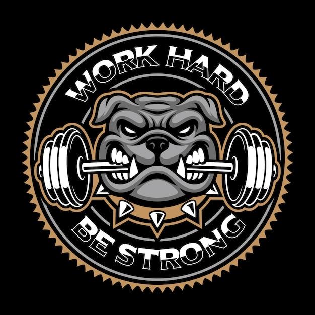Weinleseabzeichen des hundes, bodybuilding-maskottchen auf dem dunklen hintergrund. Premium Vektoren