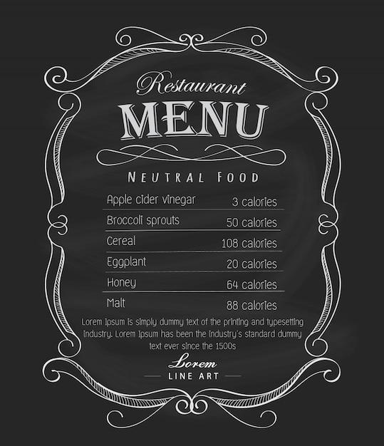 Weinleseaufklebervektor der restaurantmenürahmen-tafel hand gezeichneter Premium Vektoren