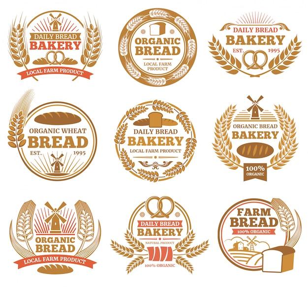 Weinlesebäckereiaufkleber mit weizenähren und brotsymbolen. bäckerei vintage abzeichen und emblem illustration Premium Vektoren