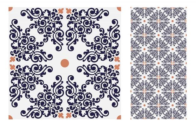 Weinlesefliesen kopieren antikes nahtloses design in der vektorillustration Premium Vektoren