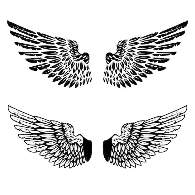 Weinleseflügel auf weißem hintergrund. elemente für logo, etikett, emblem, zeichen, markenzeichen. illustration. Premium Vektoren