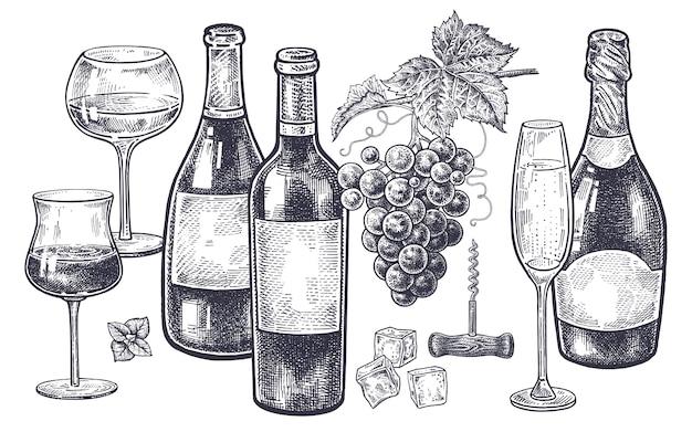Weinlesehandzeichnung auf thema alkohol. Premium Vektoren