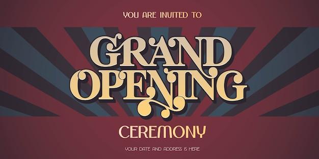 Weinlesehintergrund mit dem zeichen des großen eröffnungszeichens, illustration, einladungskarte. vorlagenflyer, zur eröffnungsfeier einladen Premium Vektoren