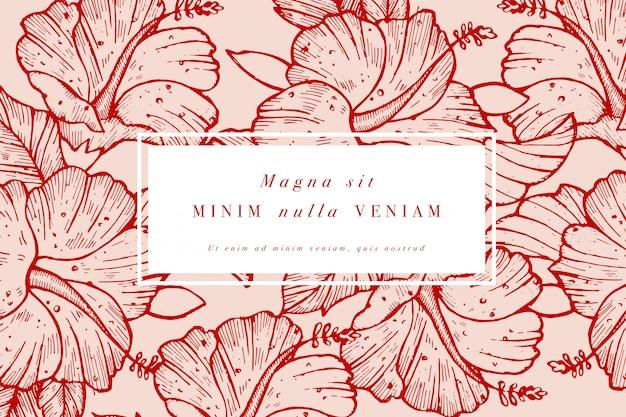 Weinlesekarte mit hibiskusblüten. blumenkranz. blumenrahmen für blumenladen mit etikett s. sommerblumenrosengrußkarte. blumenhintergrund für kosmetikverpackungen. Premium Vektoren
