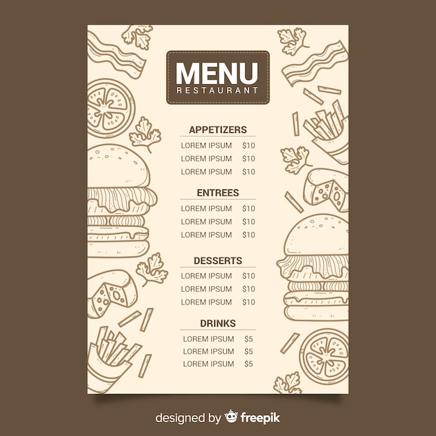 Weinlesekreide-zeichnungsmenü für restaurant Kostenlosen Vektoren