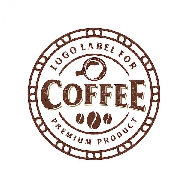 Weinleselogo für kaffeeprodukt oder caféshop Premium Vektoren