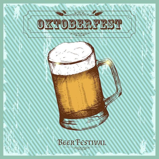 Weinleseplakat für bierfestival. oktoberfestskizze, freihandzeichnen. Premium Vektoren