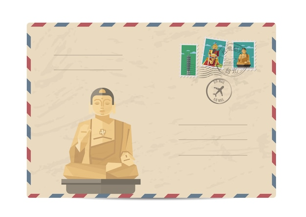 Weinlesepostumschlag mit taiwan-briefmarken Premium Vektoren