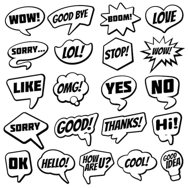 Weinlesespracheblase mit internet-chatdialog fasst komische sammlung ab Premium Vektoren