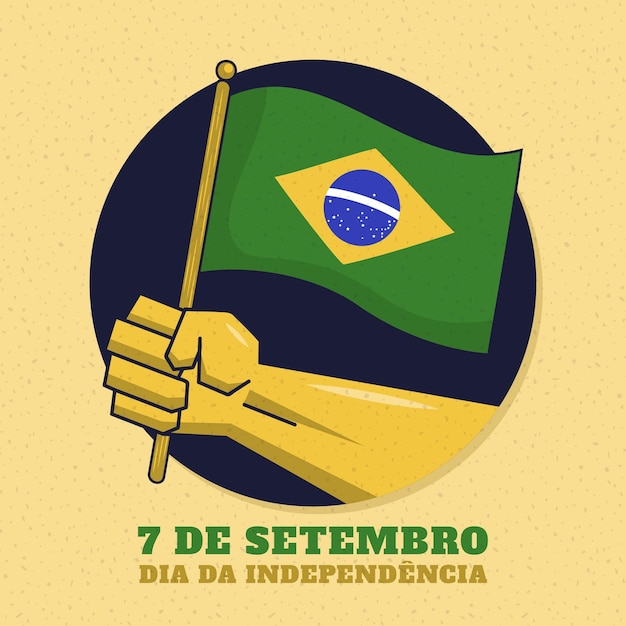 Weinleseunabhängigkeitstag des brasilien-konzepts Kostenlosen Vektoren