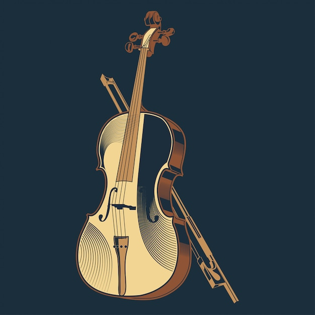 Weinlesevektorillustration des violinenklassikers Premium Vektoren