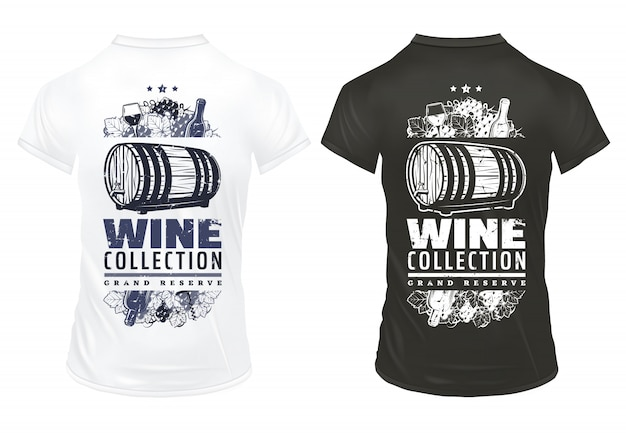 Weinlesewein druckt schablone auf hemden mit inschriftenflaschen weinglas holzfass von alkoholischen getränke trauben trauben korkenzieher isoliert Kostenlosen Vektoren