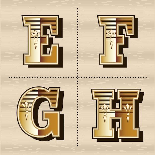 Weinlesewestalphabet beschriftet schriftart-designvektorillustration (e, f, g, h) Premium Vektoren