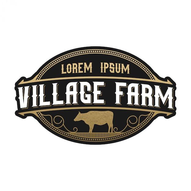 Weinlesezeichen für viehbestand. kuh angus farm Premium Vektoren