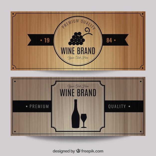 Weinmarke banner-set Kostenlosen Vektoren
