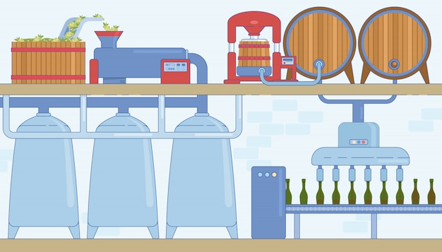 Weinproduktionslinie und maschinen Premium Vektoren
