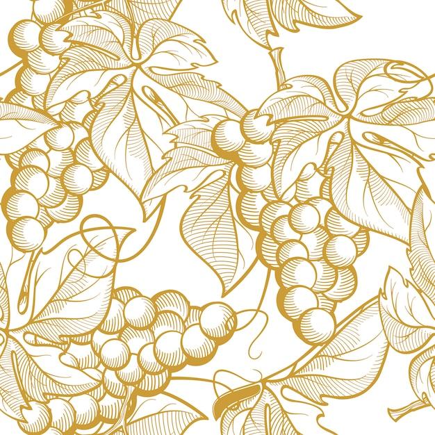 Weintrauben und weinelemente. nahtlose texturgrafiken Premium Vektoren