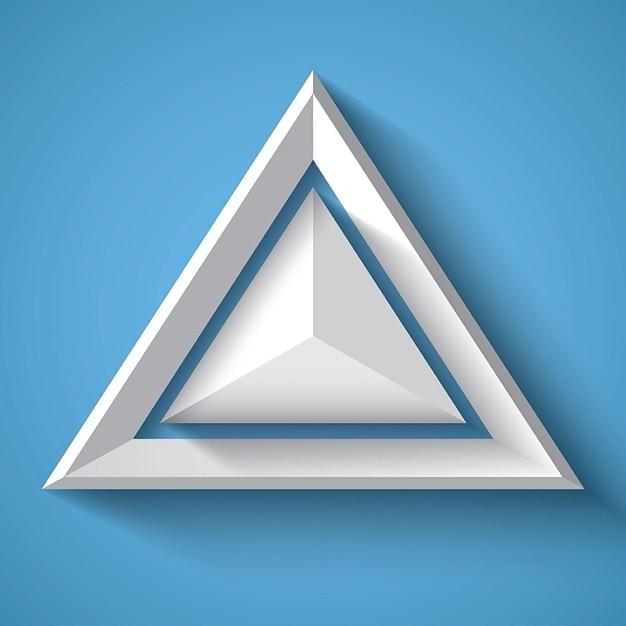 Weiß realistische geometrischen hintergrund mit dreieck Kostenlosen Vektoren
