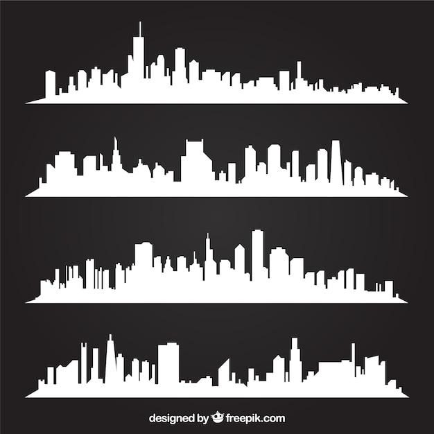 Weiß skylines Kostenlosen Vektoren