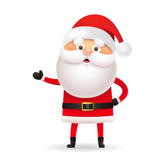 Weißbärtiger weihnachtsmann, der hand gestikuliert Kostenlosen Vektoren