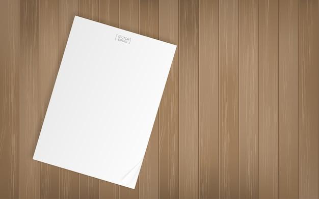 Weißbuchblatt auf hölzernem beschaffenheitshintergrund. Premium Vektoren