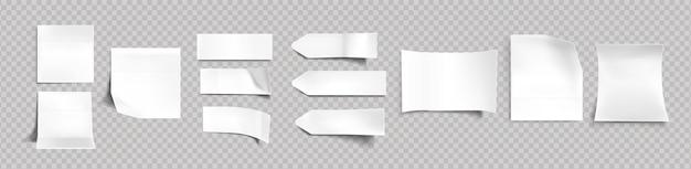 Weiße aufkleber von verschiedenen formen mit schatten und gefalteten kanten, tags, haftnotizen für memo-modell lokalisiert auf einem transparenten hintergrund. papierklebeband, leere rohlinge realistischer 3d-vektorsatz Kostenlosen Vektoren