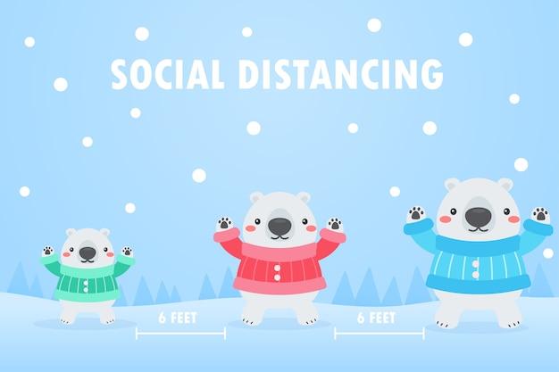 Weiße bärenfamilie soziale distanz zum schutz vor dem virus im verschneiten winter von weihnachten. Premium Vektoren