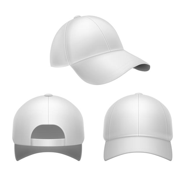 Weiße baseballkappe. 3d-hut, kopfkappen hinten, vorder- und seitenansicht. Premium Vektoren