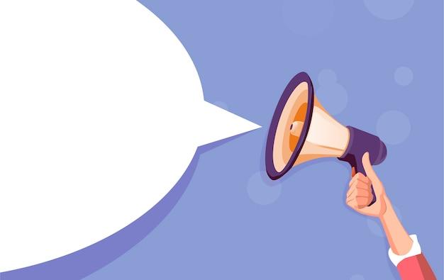Weiße blase des megaphons für social media. Premium Vektoren