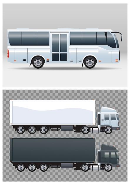 Weiße busse und lastwagen färben fahrzeuge des öffentlichen verkehrs Premium Vektoren