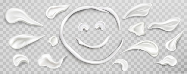Weiße creme abstriche swatch set. kosmetikprodukt Kostenlosen Vektoren
