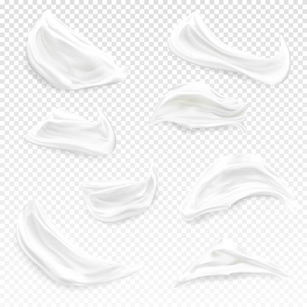 Weiße creme streicht illustration der realistischen kosmetischen feuchtigkeitscreme 3d, gel oder schaum und farbe Kostenlosen Vektoren