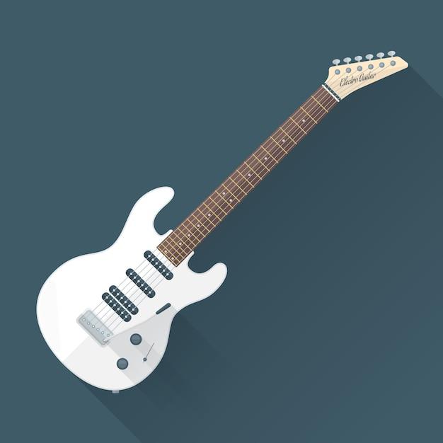 Weiße e-gitarre mit schatten Premium Vektoren