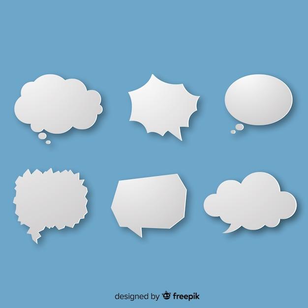 Weiße einfache spracheblasen auf blauem hintergrund Kostenlosen Vektoren