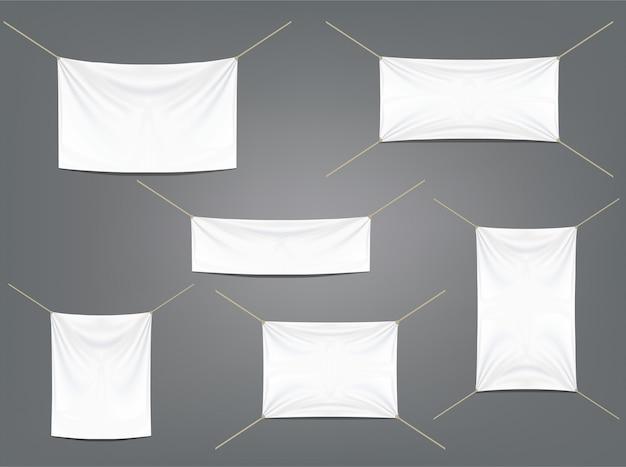 Weiße fahnen mit den strumpfbändern eingestellt Premium Vektoren