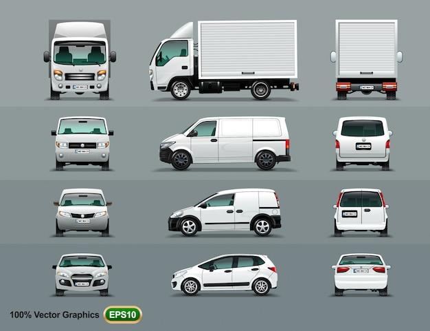 Weiße farbe des autos in drei positionen. Premium Vektoren