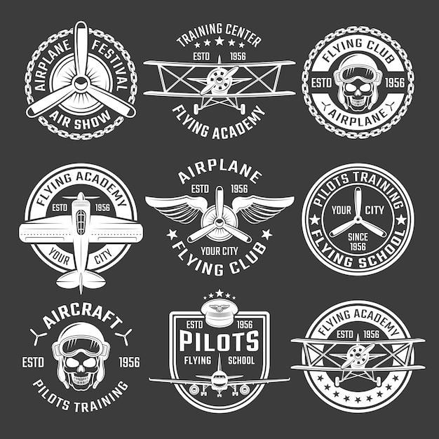 Weiße farbe flugzeug emblem set Kostenlosen Vektoren