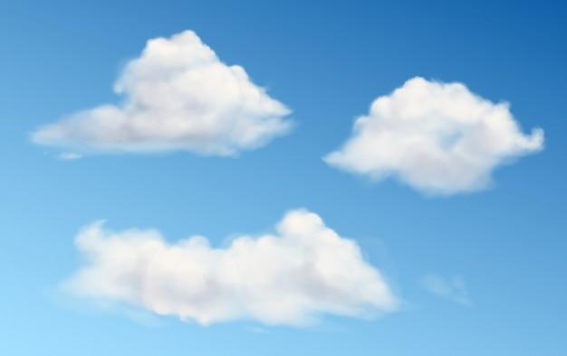 Weiße flauschige wolken im blauen himmel Kostenlosen Vektoren