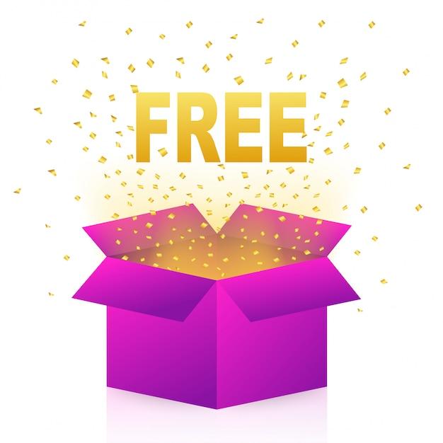 Weiße freie box auf hellem hintergrund. überraschungsgeschenk. illustration. Premium Vektoren