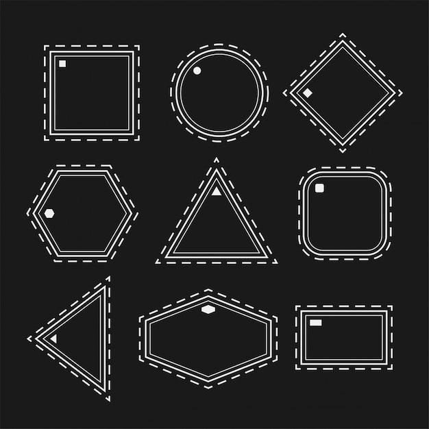 Weiße geometrische formen in linienart gesetzt Kostenlosen Vektoren