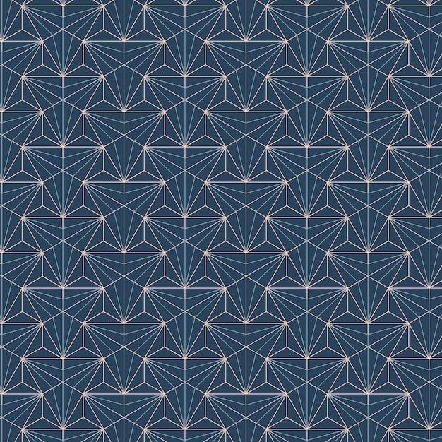 Weiße geometrische nahtlose muster stellten auf einen blauen hintergrund ein Kostenlosen Vektoren