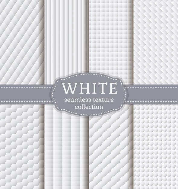 Weiße geometrische texturen. vektor festgelegt. Premium Vektoren