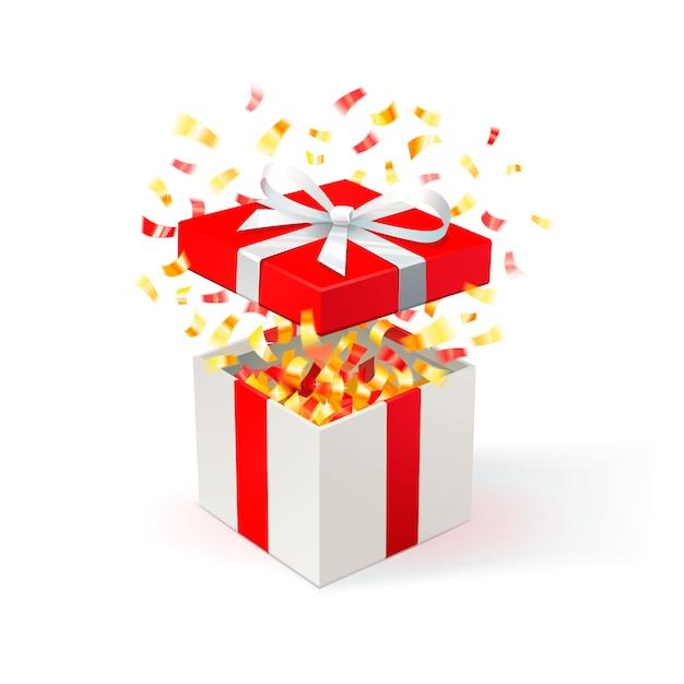 Weiße geschenkbox mit rotem bezug und goldenem konfetti. geschenkbox öffnen. festlicher hintergrund. kostenlose lieferung, schnäppchen, sonderangebot. Premium Vektoren