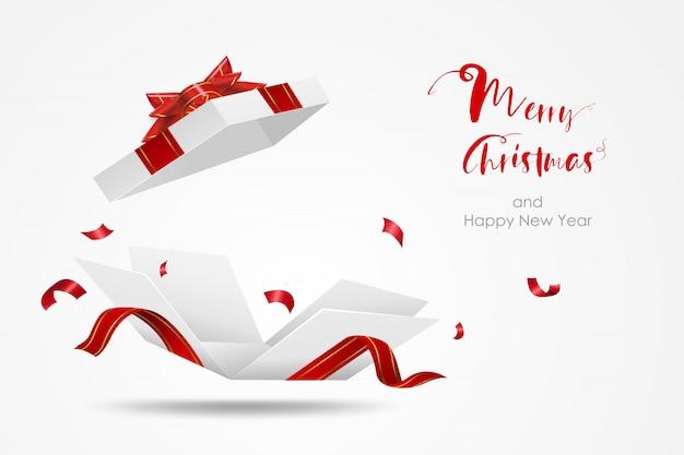 Weiße geschenkbox mit roter schleife überraschen. öffnen sie die lokalisierte geschenkbox. frohe weihnachten und ein glückliches neues jahr. Premium Vektoren