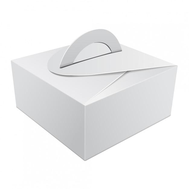 Weiße geschenkverpackungsbox mit griff für kuchen. karton verpackungsbehälter vorlage für hochzeitsfeier dekoration Premium Vektoren