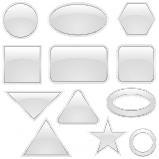 Weiße glastastenformen Premium Vektoren