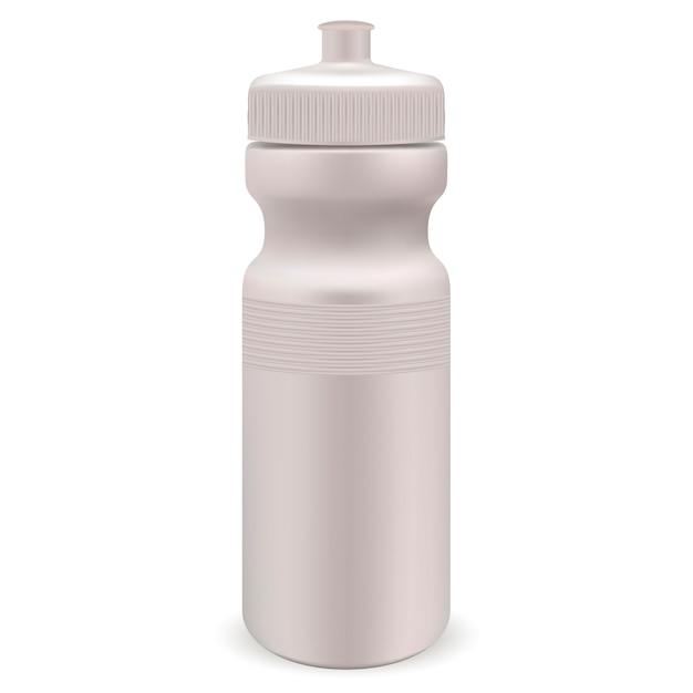 Weiße glatte plastikwassersportflasche. realistisch Premium Vektoren
