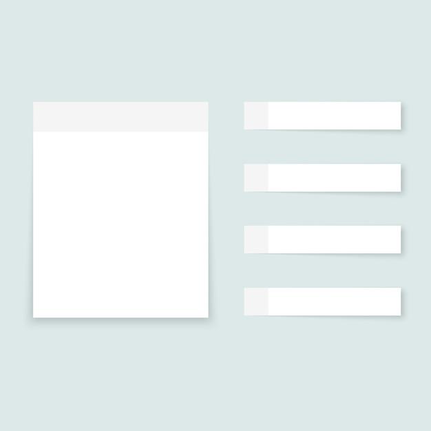 Weiße haftnotizen farbige papierbögen Premium Vektoren