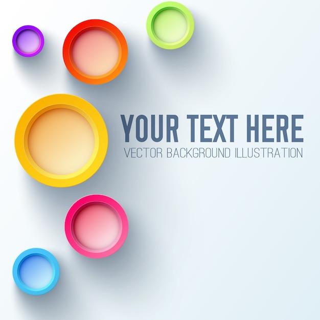 Weiße hintergrundgeschäftsschablone mit hellen regenbogen 3d kreisen und platz für ihren text Kostenlosen Vektoren